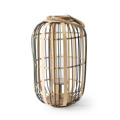Black Velvet Studio Lantern Arlequín Black White colour Nordic style Bamboo 49x30x30 cm