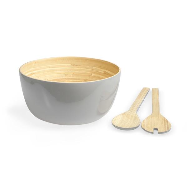 Set bol y utensilios Aviñon bambú, color natural y gris brillante