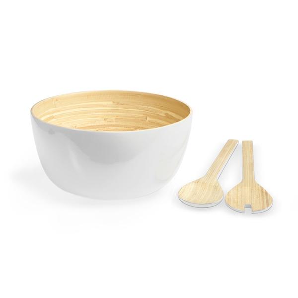 Set bol y utensilios Aviñon bambú, color natural y blanco brillante