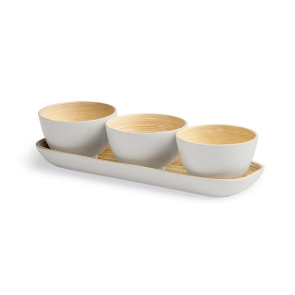 Set 3 bols y bandeja Cannes bambú, color gris claro brillante