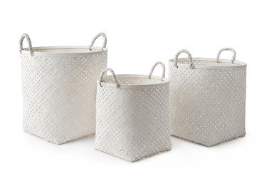 lack Velvet Studio 3 Baskets set Phnom Penh White colour neutral and bright design Bamboo 40x30x30 c