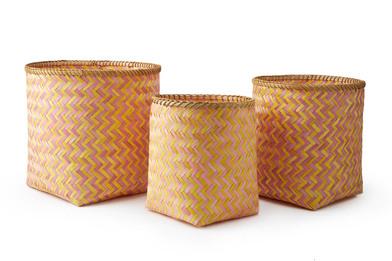 lack Velvet Studio 3 Baskets set Hanoi Pink / Yellow colour Twisted design, light and fresh Bamboo 4