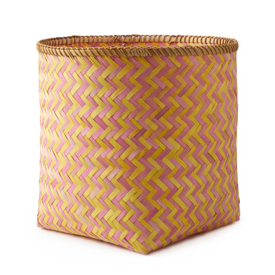 lack Velvet Studio Basket Hanoi Pink / Yellow colour Twisted design, light and fresh Bamboo 42x34x34