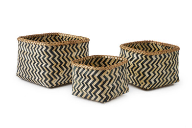 lack Velvet Studio 3 Baskets set Malé Natural / Black colour Square, design in black and white zig z