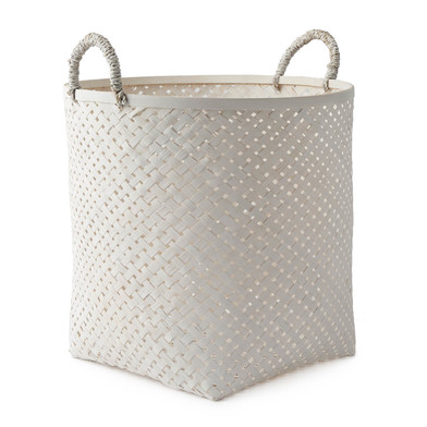 Black Velvet Studio Basket Phnom Penh White colour neutral and bright design Bamboo 40x30x30 cm
