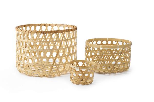 Set 3 cestos Vietnam bambú, color natural