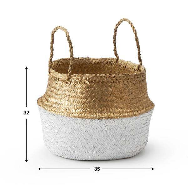 Cesto Belly paja, color blanco y dorado