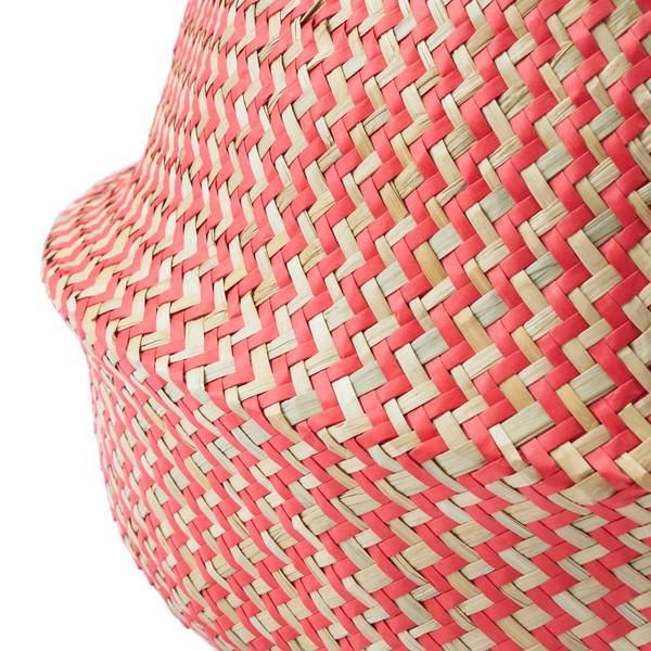 Cesto Belly paja, color natural y rojo