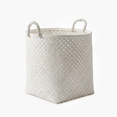 Black Velvet Studio Basket Phnom Penh White colour neutral and bright design Bamboo 35x27x27 cm