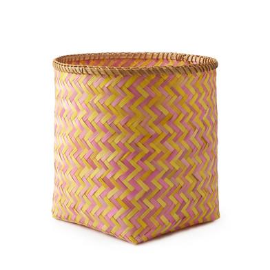 lack Velvet Studio Basket Hanoi Pink / Yellow colour Twisted design, light and fresh Bamboo 37x30x30