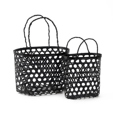 lack Velvet Studio 2 Baskets set Vietnam Black colour Twisted design, light and fresh, with handles