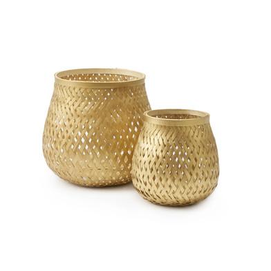 lack Velvet Studio 2 Baskets set Singapur Golden colour Twisted design, light and fresh Bamboo 20x17