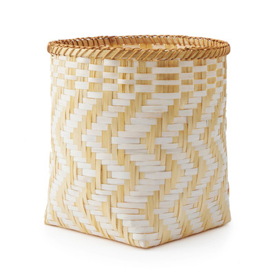 lack Velvet Studio Basket Zig Zag White / Natural colour original and different design Bamboo 30x23x