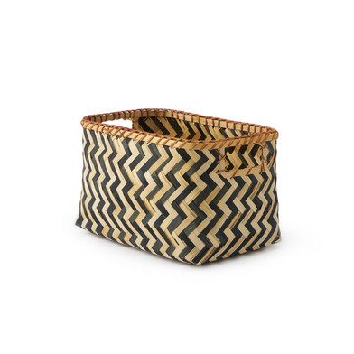 lack Velvet Studio Basket Malé Natural / Black colour Rrectangular, design in black and white zig za