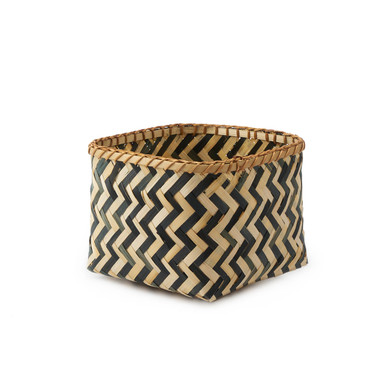 lack Velvet Studio Basket Malé Natural / Black colour Square, design in black and white zig zag Bamb