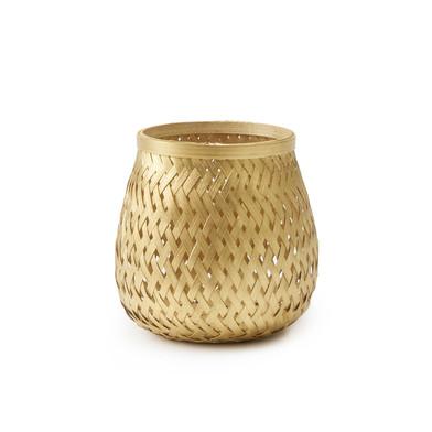 Black Velvet Studio Basket Singapur Golden colour Twisted design, light and fresh Bamboo 16x11 cm