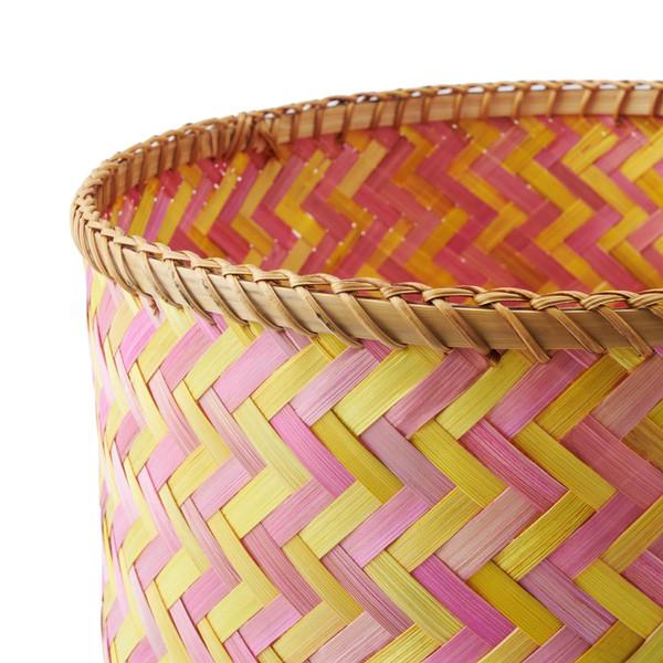 Cesto Hanoi bambú, color rosa y amarillo