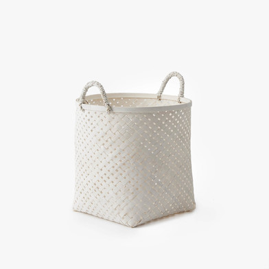 Black Velvet Studio Basket Phnom Penh White colour neutral and bright design Bamboo 31x24x24 cm