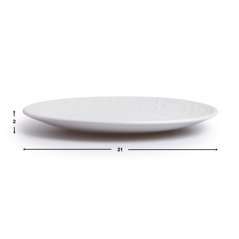 Vajilla,set 16 piezas,Avignon,grabado,blanco, altura 20x20x20 cm