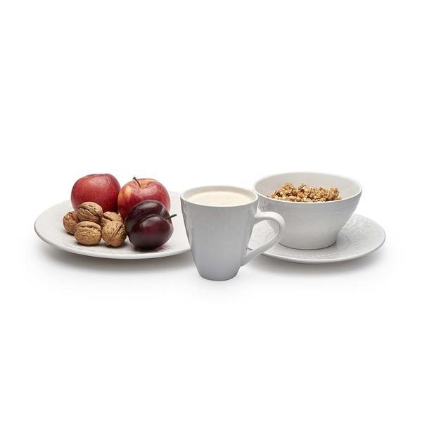 Set vajilla, 4 platos postre Avignon gres, color blanco