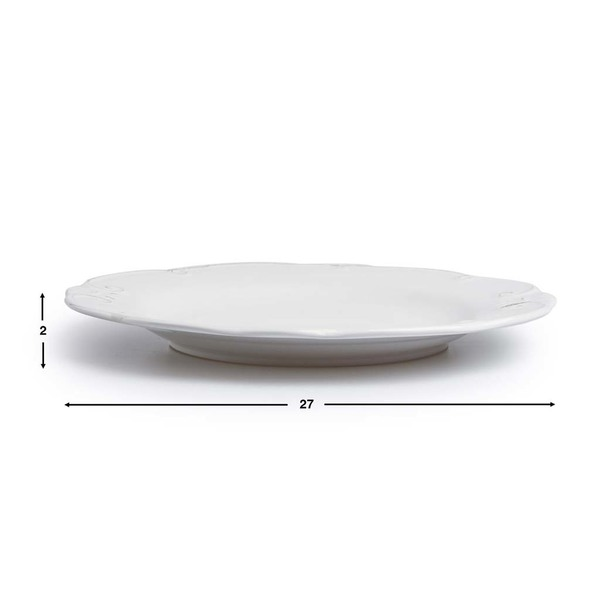 Set vajilla, 4 platos grandes Provenza gres, color blanco
