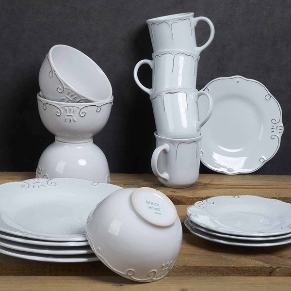 Set vajilla, 4 platos postre Provenza gres, color blanco