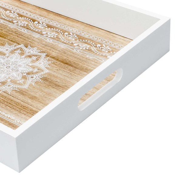 Bandeja Mandala MDF chapado madera pawlonia, color blanco y natural