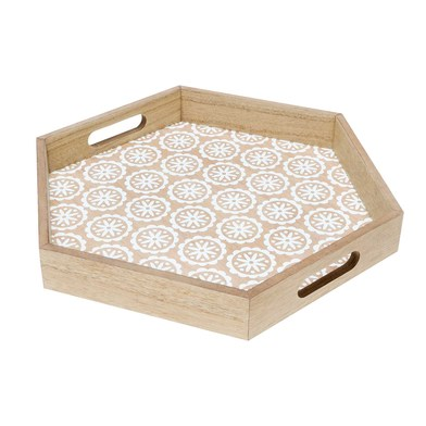 ood Serving Tray Color White MDF Chapada pawlonia Natural Hexagonal - Nordic-style print Vintage Ret