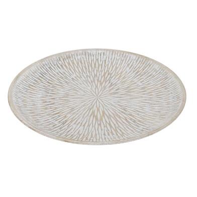 Centro mesa Rustic MDF chapado madera pawlonia, color gris blanqueado