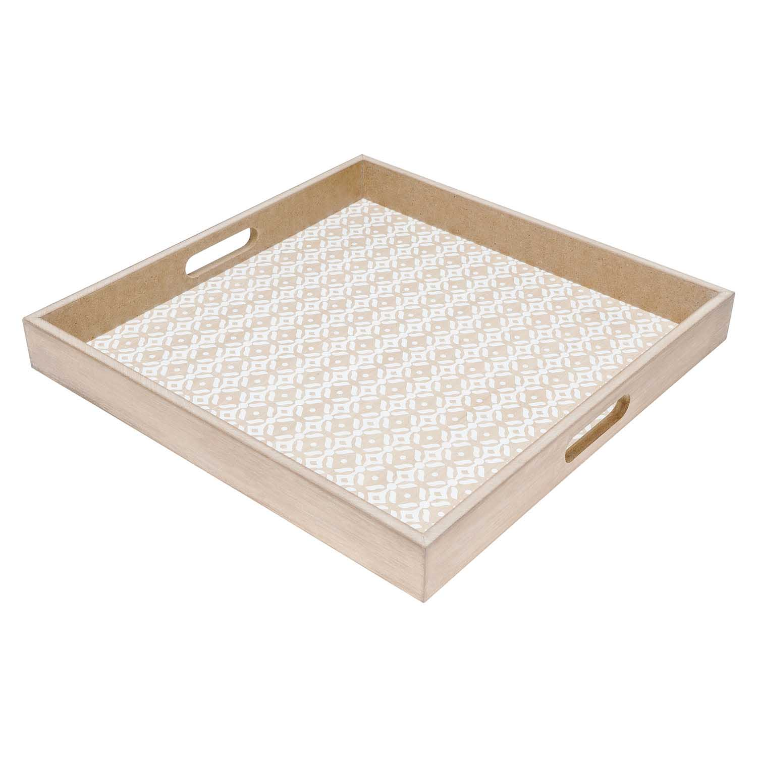 ood Serving Tray Natural Color MDF Chapado Square - Nordic-style print Vintage Retro Ethnic Model Ma