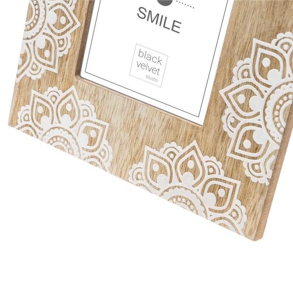 Marco Mandala MDF chapado madera pawlonia, color natural y blanco