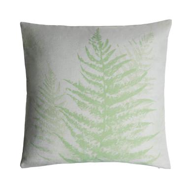 Funda cojín Tropic 100% algodón, color beige y verde claro