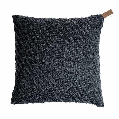 Funda cojín Knot 80% lana y 20% poliéster, color gris oscuro