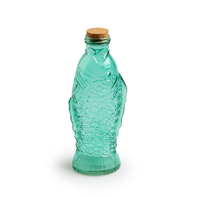 Fish glass bottle and cork