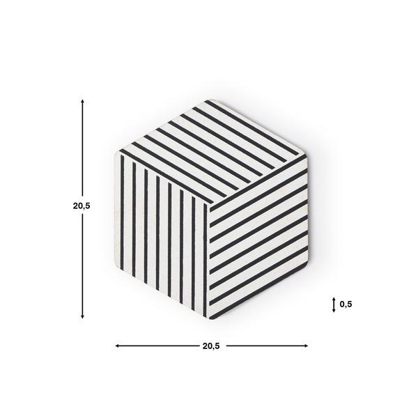 Set 2 salvamanteles Cork corcho, color blanco y negro