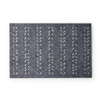 2 Placemats Set Leaf, felt, gray color, hola30x45 cm