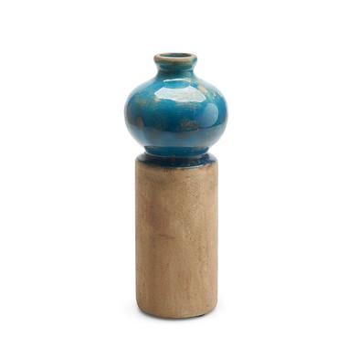 Vase Ibiza ceramic, color blue and brown