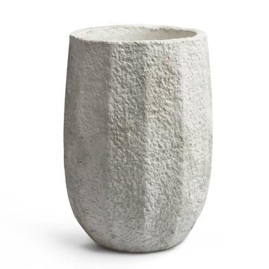 Maceta Kos cemento, color gris blanqueado