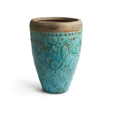 arrón Cerámica Decorativo Color Turquesa Terracota – Florero Moderno Vintage para Hogar Oficina Sala