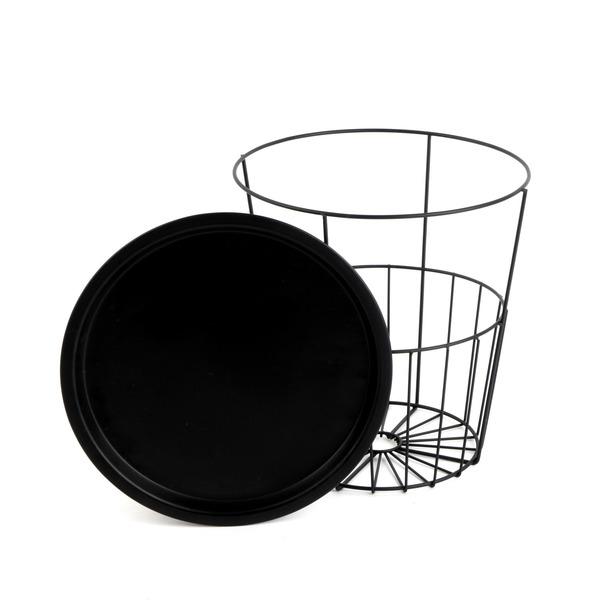 Mesa auxiliar Mr Jo metal, color negro