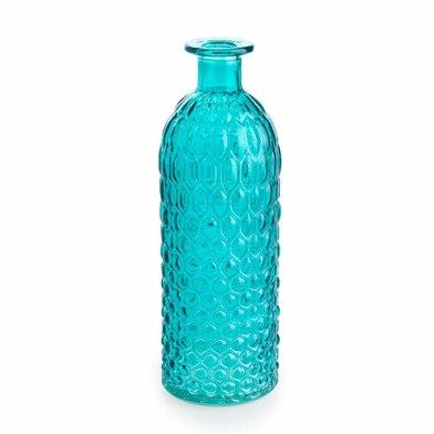 arrón Vidrio Decorativo Color Turquesa Cristal Grabado – Florero Moderno Vintage para Hogar Oficina