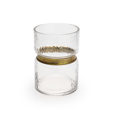 ecorative Brass Color Glass Vase Glass - Modern Vintage Vase for Home Office Room Small Table Dimens