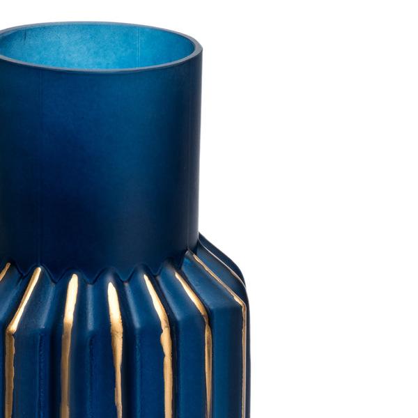 Jarrón Ocean vidrio, color azulydorado