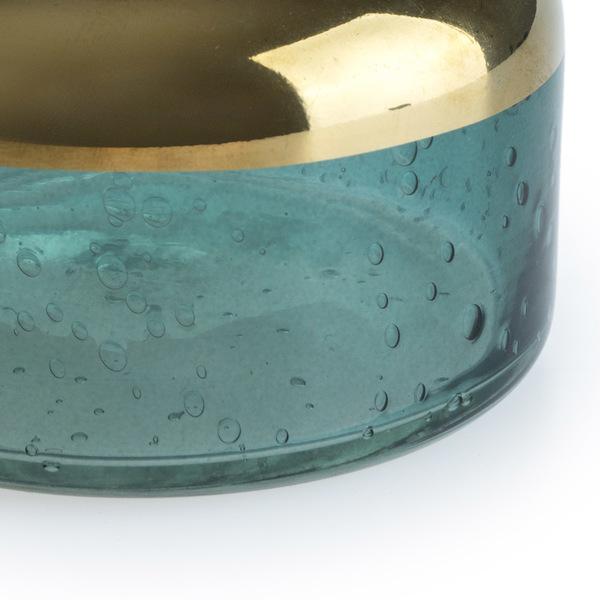 Jarrón Glam vidrio, color verdey dorado