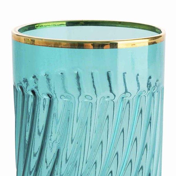 Set 4 vasos altos Estambul vidrio, color turquesa y dorado