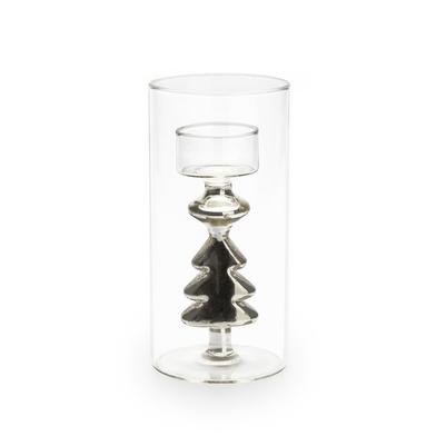 Portavelas Silver vidrio, color transparente y plateado