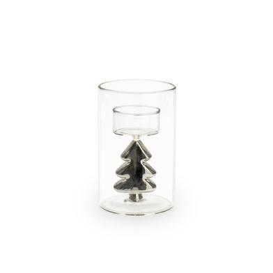 Portavelas Silver vidrio , color transparente y plateado