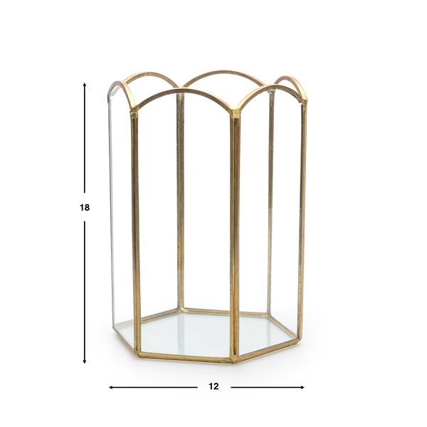 Portavelas Retro vidrio y metal, color transparente y dorado