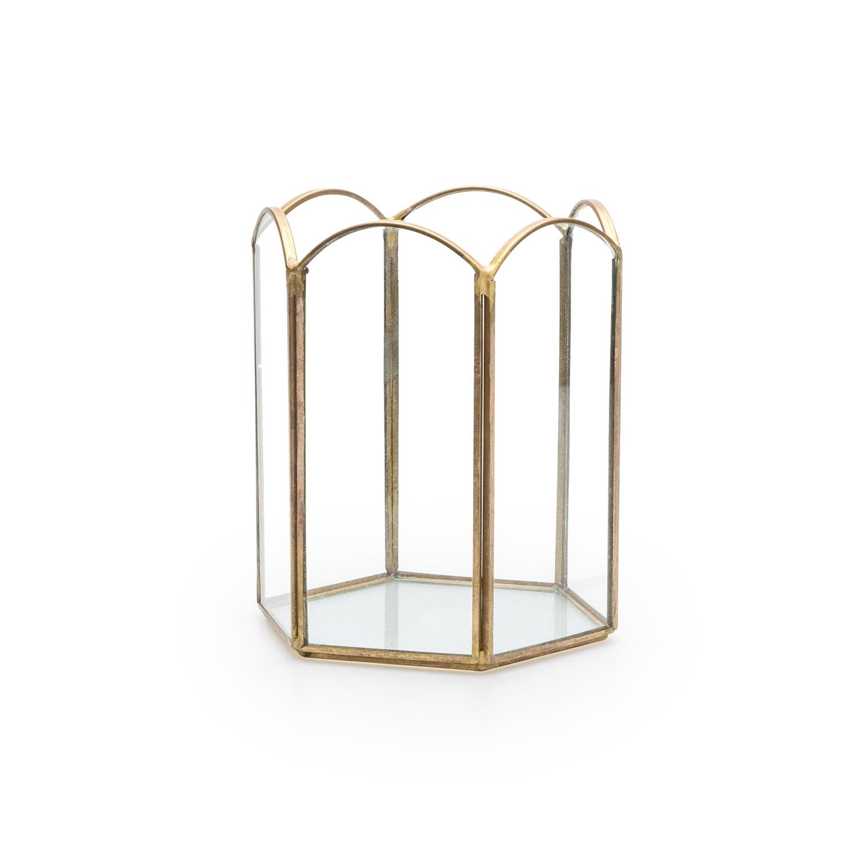 ortavelas Decorativo Exterior Interior Metal Dorado Laton Vidrio – Farolillo para Decoración Salon J
