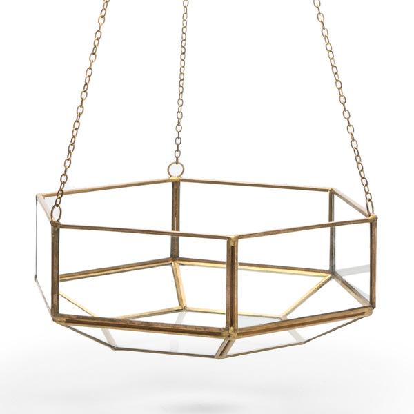 Jarrón colgante Retro vidrio y metal, color transparente y dorado